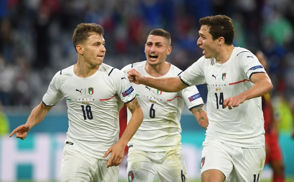 Barella celebra el gol de Italia sobre Bélgica - Foto: REUTERS / Christof Stache