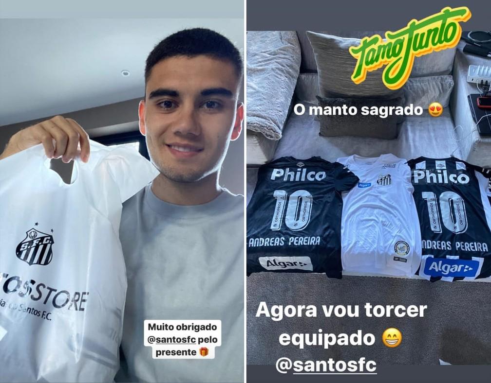 Andreas Pereira, santista declarado, ganhou camisas do Santos de presente no ano passado — Foto: Reprodução/Instagram