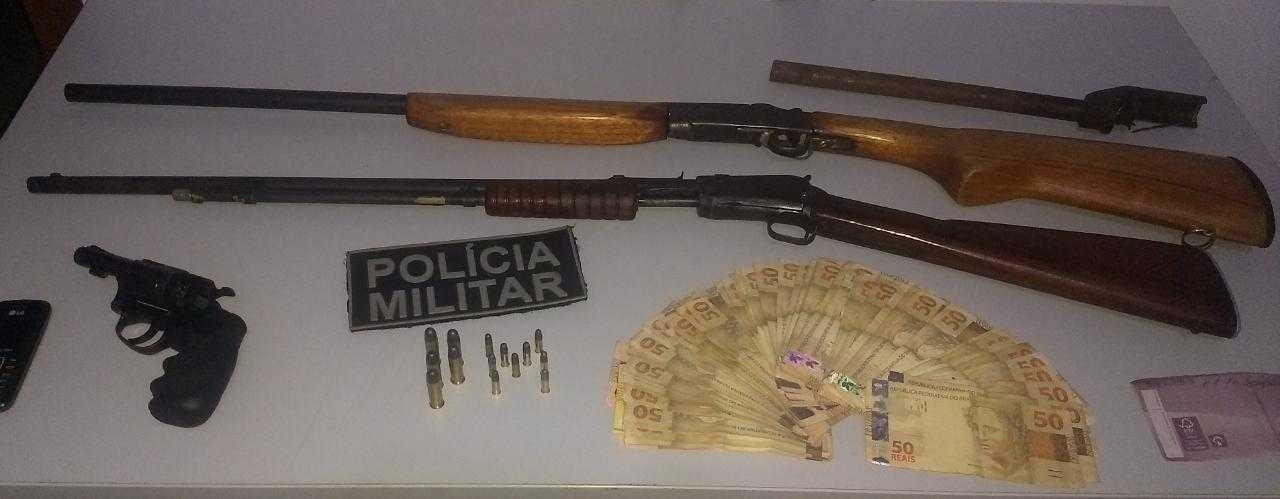 Suspeito é preso com armas e R$ 10 mil em fazenda de Figueirópolis
