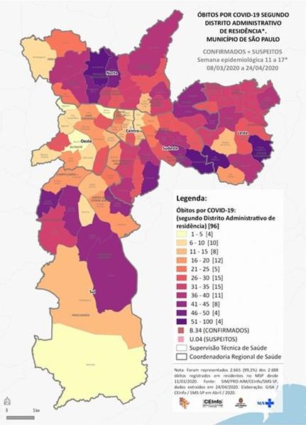 Água Rasa e Pari, na Zona Leste, têm maiores taxas de mortes confirmadas ou suspeitas por coronavírus em SP