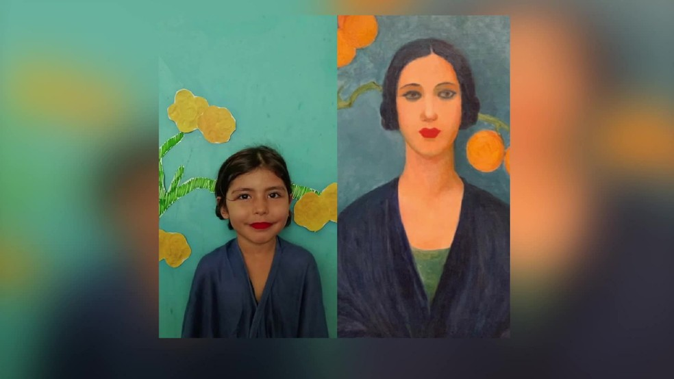 Obra 'Figurinha Azul', de Tarsila do Amaral, foi recriada por aluna de escola do Recife — Foto: Reprodução/TV Globo