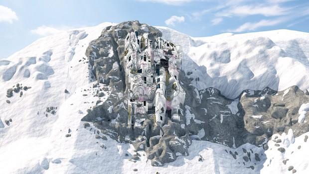 """Base de treinamento é feita ao redor das """"cabines"""" rochosas naturais encontradas na montanha.  (Foto: Divulgação/Dezeen)"""