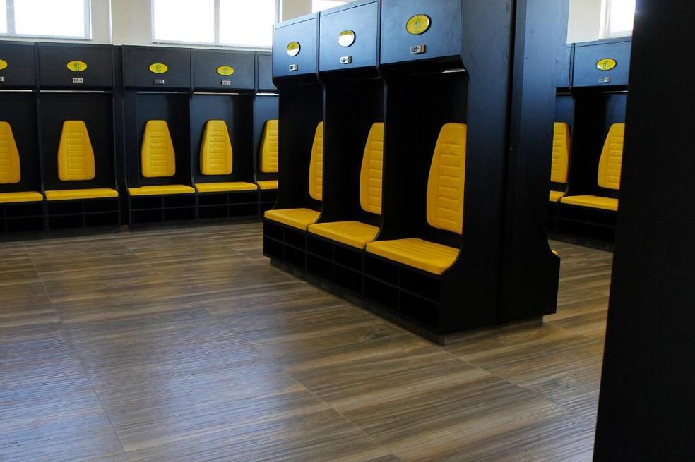 Os novos vestiários do Centro de Treinamentos do Mirassol — Foto: Rodrigo Corsi / FPF