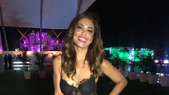 Juliana Paes exibe boa forma no Rock in Rio com look de renda: 'Vim toda de Bibi'