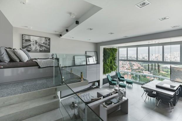 Mezanino otimiza espaço em apartamento de 80 m² (Foto: Divulgação)