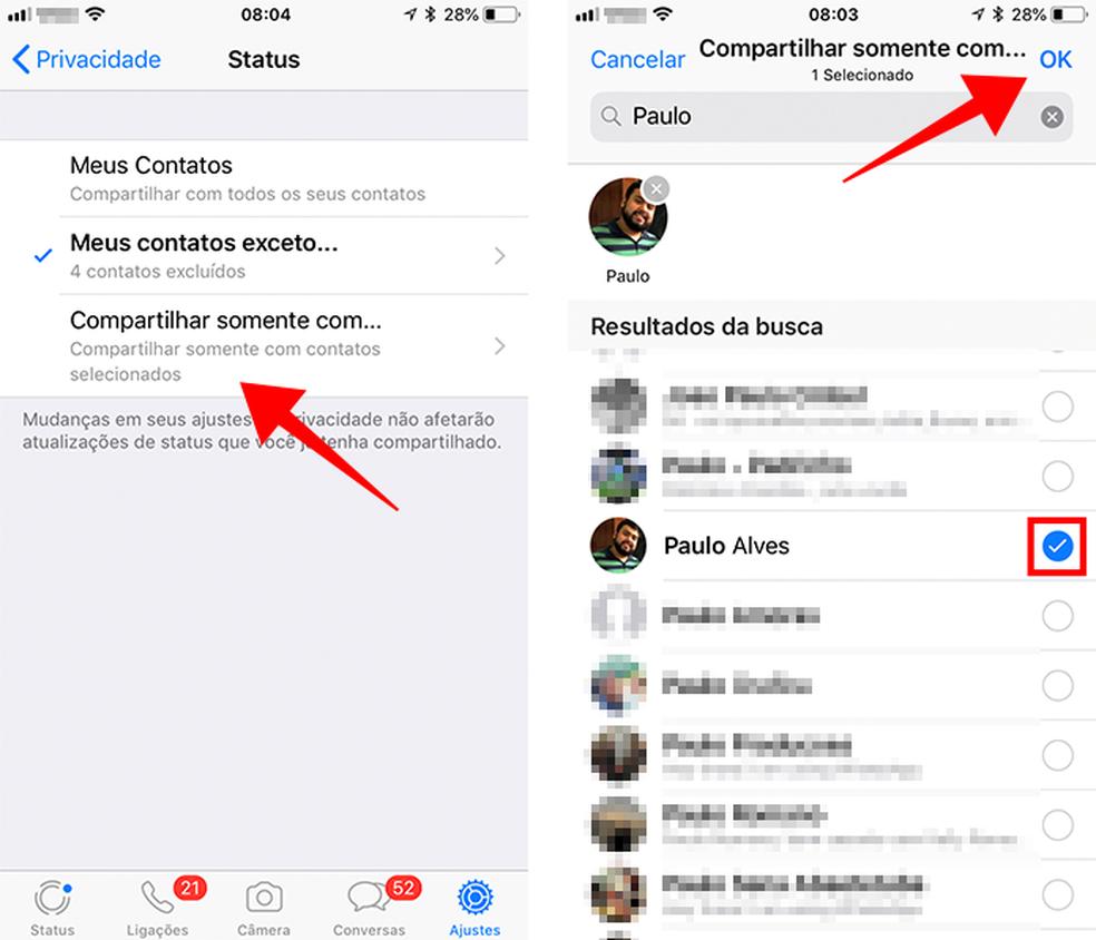 Selecione um ou mais contatos que poderão ver seu Status (Foto: Reprodução/Paulo Alves)