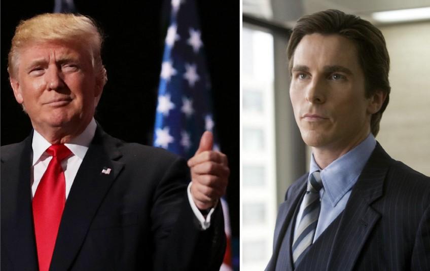 Donald Trump e Christian Bale como Bruce Wayne (Foto: Getty Images/Reprodução)