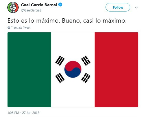 Post de  Gael Garcia Bernal (Foto: Reprodução Twitter)
