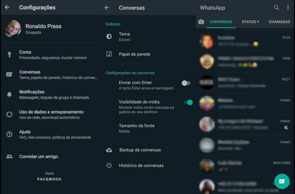 Modo escuro do WhatsApp está em testes — Foto: Reprodução/G1