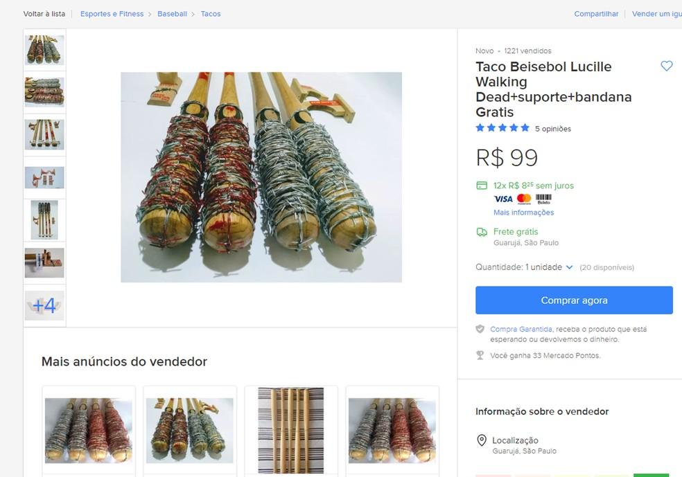 Outros anúncios com tacos revestidos de arame farpado permanecem em vigor no Mercado Livre — Foto: Reprodução/Mercado Livre