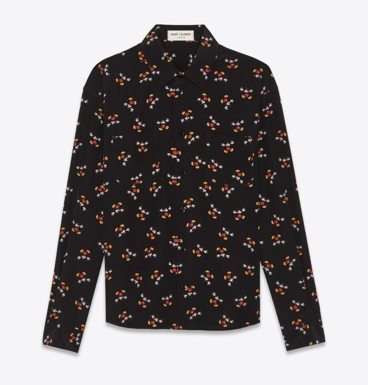 Camisa YSL com estampa de Mickey Mouse