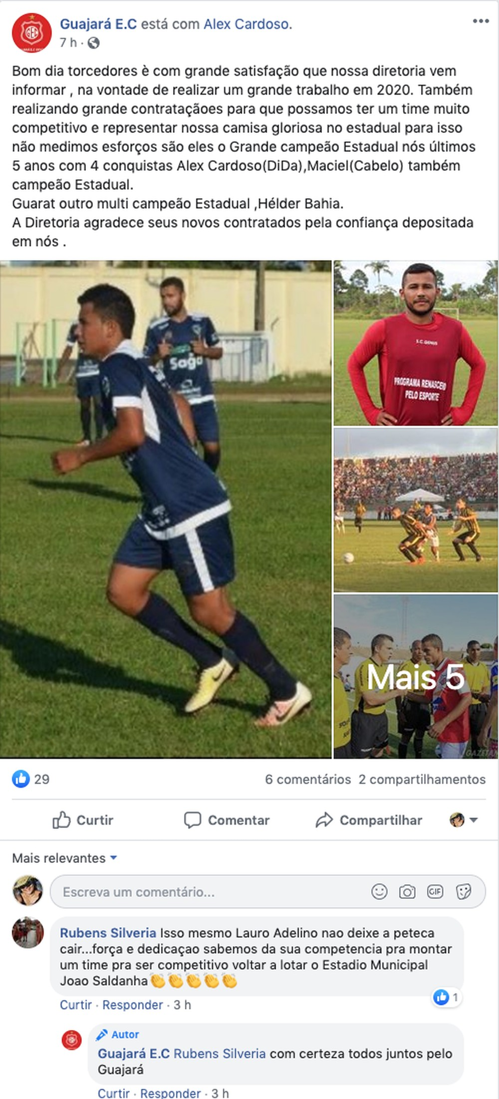 Anúncio das novas contratações do GuajarÃÂ¡ Esporte Clube (Foto: Rede Social do Facebook)