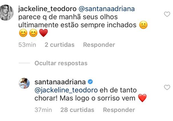 Print do comentário de Adriana (Foto: Reprodução Instagram)