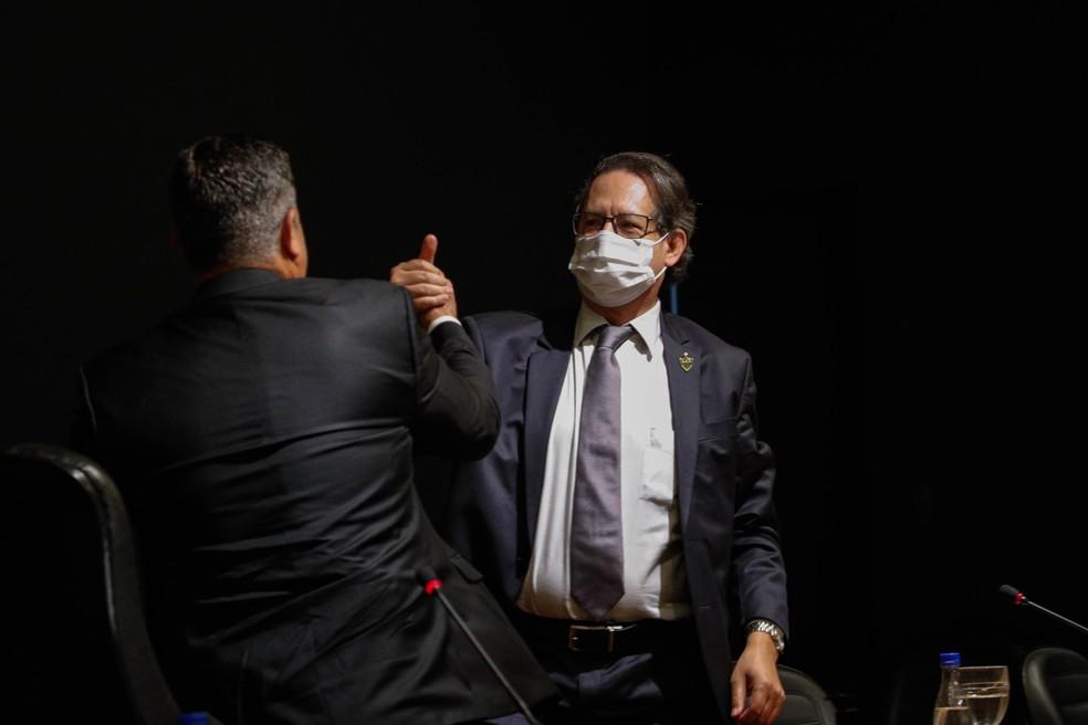 Sérgio Sette Câmara e Lásaro da Cunha, do Atlético-MG, deixarão presidência do Atlético em 1º de janeiro — Foto: Pedro Souza / Atlético-MG