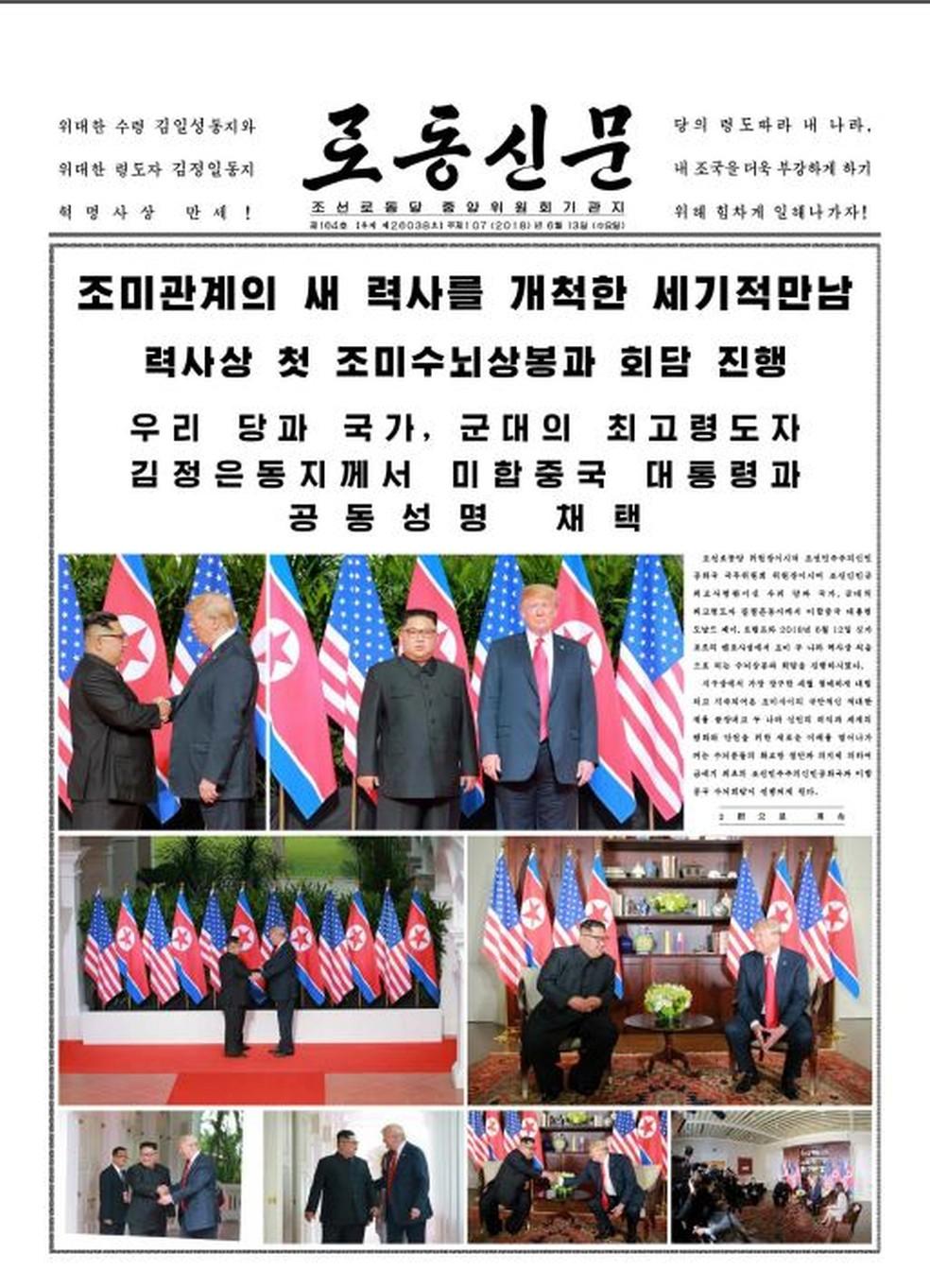 -  Jornal norte-coreano noticia a cúpula de Trump e Kim  Foto: Reprodução/Rodong Sinmun