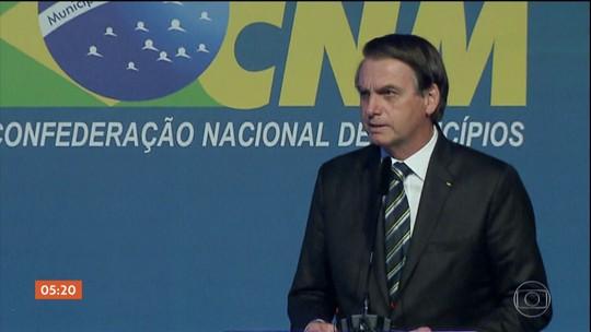Bolsonaro pede apoio na aprovação da reforma da Previdência durante evento com prefeitos