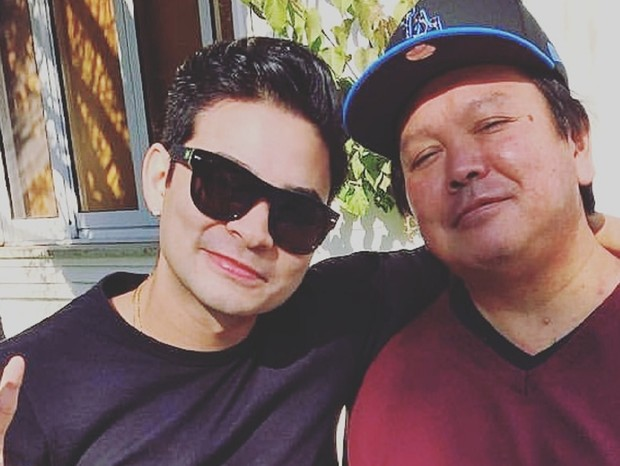 Yudi Tamashiro e o pai, Nelson, hospitalizado em decorrência da Covid-19 (Foto: Reprodução/Instagram)