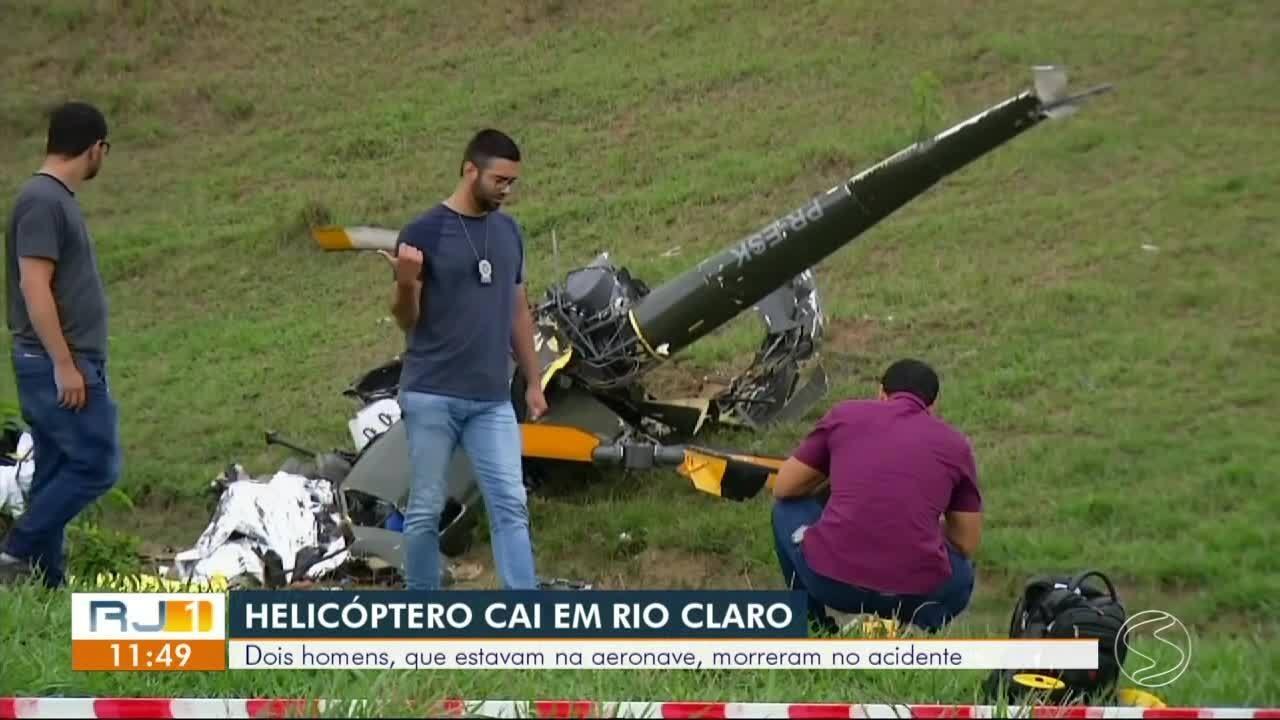 Dois homens morrem em queda de helicóptero em Rio Claro