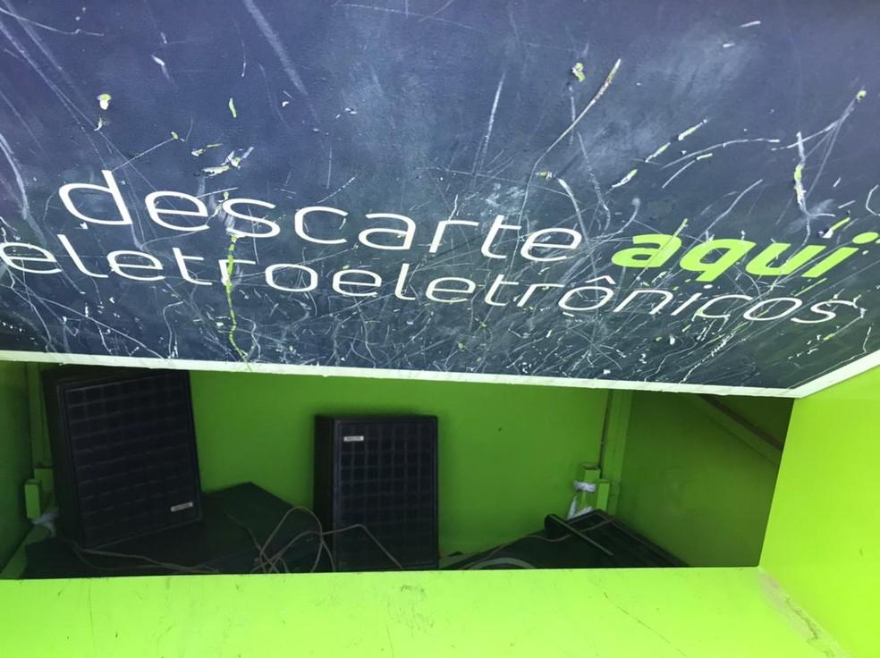 Pontos de descarte de eletrônicos na cidade de Sorocaba— Foto: Nathália Silva/TV TEM