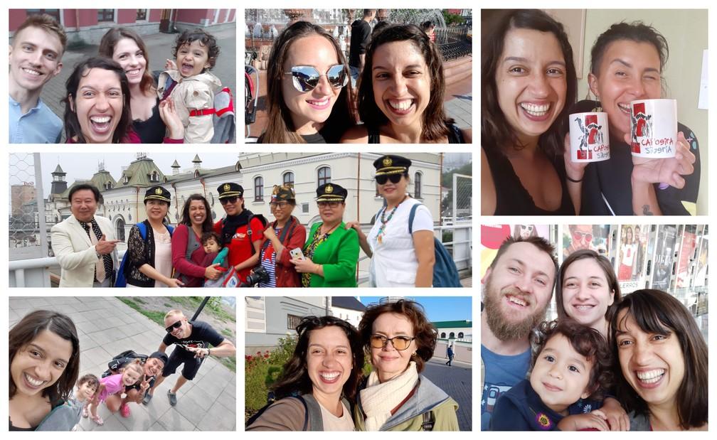 Olívia, Gabriela e os (muitos) amigos russos que fizeram pelo caminho. — Foto: Arquivo pessoal/Gabriela Antunes