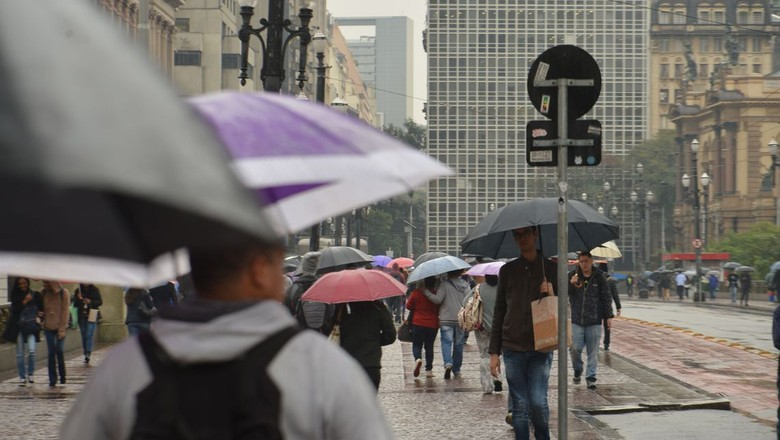 chuva-são paulo-pedestre-viaduto do chá (Foto: Rovena Rosa/Agência Brasil)
