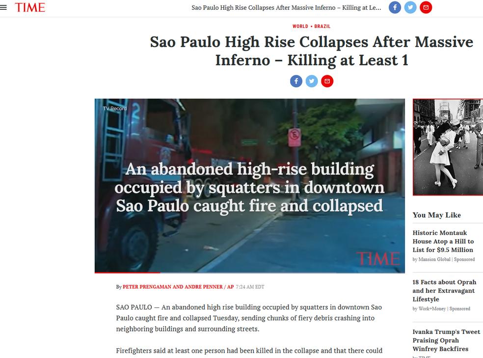 Time noticiou o incêndio no Centro de São Paulo (Foto: Reprodução/ Time)