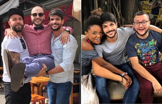 Lucas com Caruso e Mahmoud e com Nayara e Diego (Foto: Instagram)