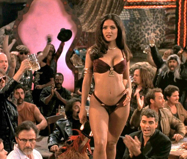 The stunning actress Salma Hayek in a scene from A drink in hell