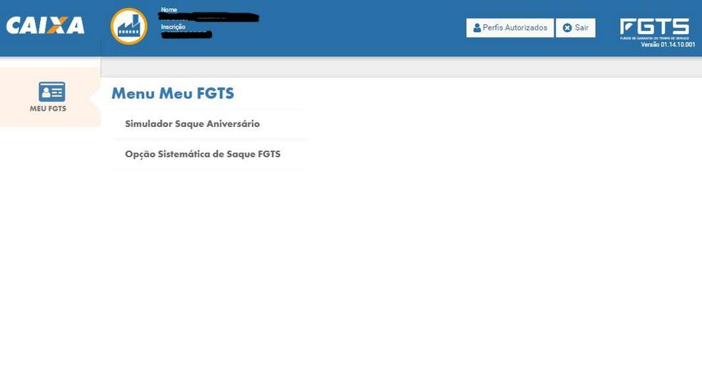 Simulador do saque-aniversário do FGTS — Foto: Reprodução