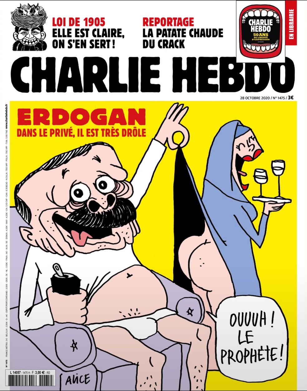 Revista satírica Charlie Hebdo publica charge de Recep Tayyip Erdogan, e presidente da Turquia reage — Foto: Divulgação/Charlie Hebdo