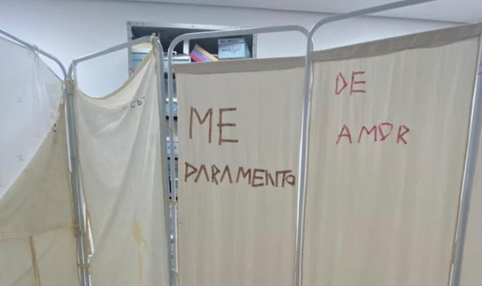 Intervenção artística no Hospital Universitário de Brasília (HUB) faz parte de projeto para humanizar atendimento — Foto: Arquivo pessoal
