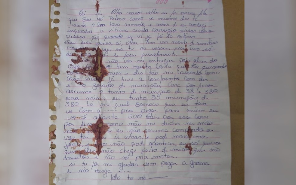 Carta encontrada com Lázaro Barbosa no dia em que ele foi morto durante troca de tiros, em Águas Lindas de Goiás — Foto: Divulgação/SSP
