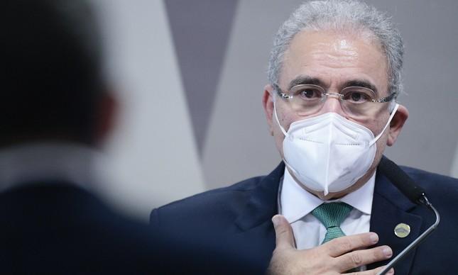 O ministro da Saúde, Marcelo Queiroga, fala à CPI da Covid