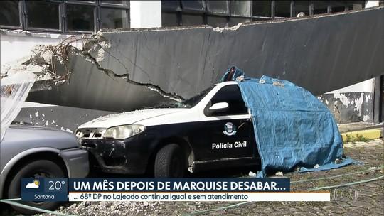 68º DP continua em estado precário 1 mês depois de marquise desabar