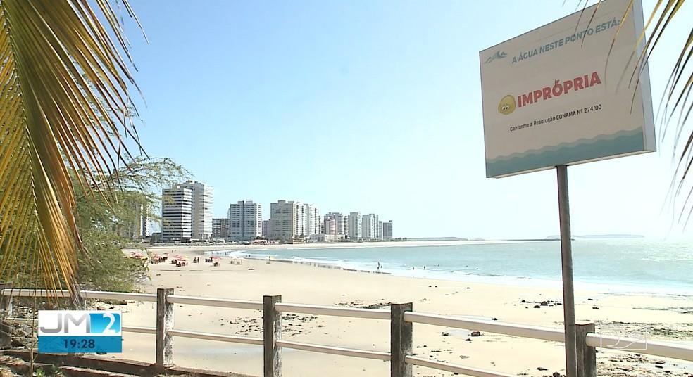 Maioria dos pontos em praias de São Luís estão impróprias ao banhos — Foto: Reprodução/TV Mirante