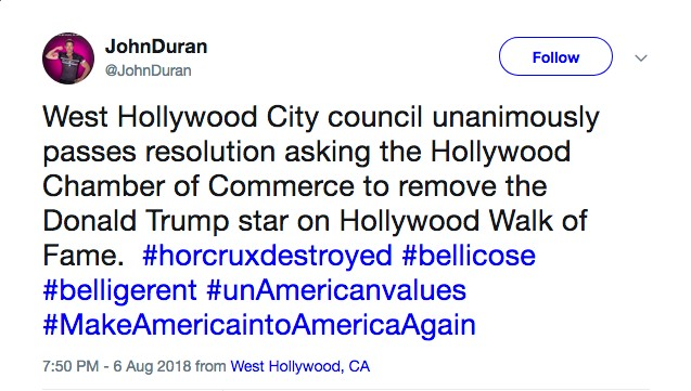 O anúncio feito pelo prefeito de West Hollywood sobre a remoção da estrela de Donald Trump da Calçada da Fama (Foto: Twitter)