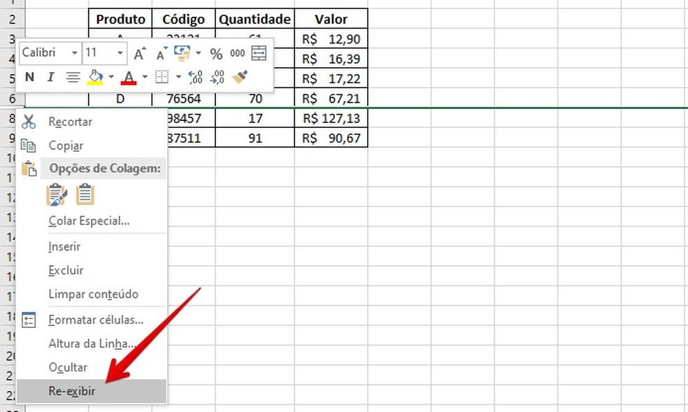 Desocultando linha no Excel — Foto: Reprodução/Helito Beggiora