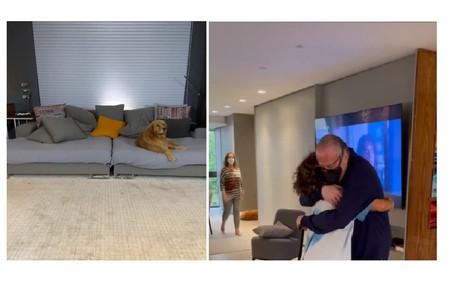A sala de TV do apresentador. Ao lado, Stefano abraça o pai de Marcos Mion Reprodução