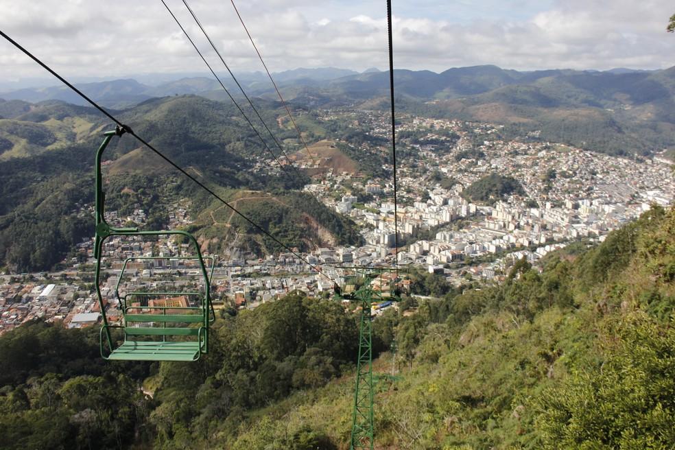 Segundo estágio do teleférico tem 850 metros e vai até o Morro da Cruz, em Nova Friburgo (Foto: Daniel Marcus/Ascom Friburgo)