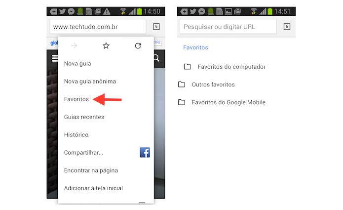 Acessando a página de favoritos do Google Chrome no Android (Foto: Reprodução/Marvin Costa)