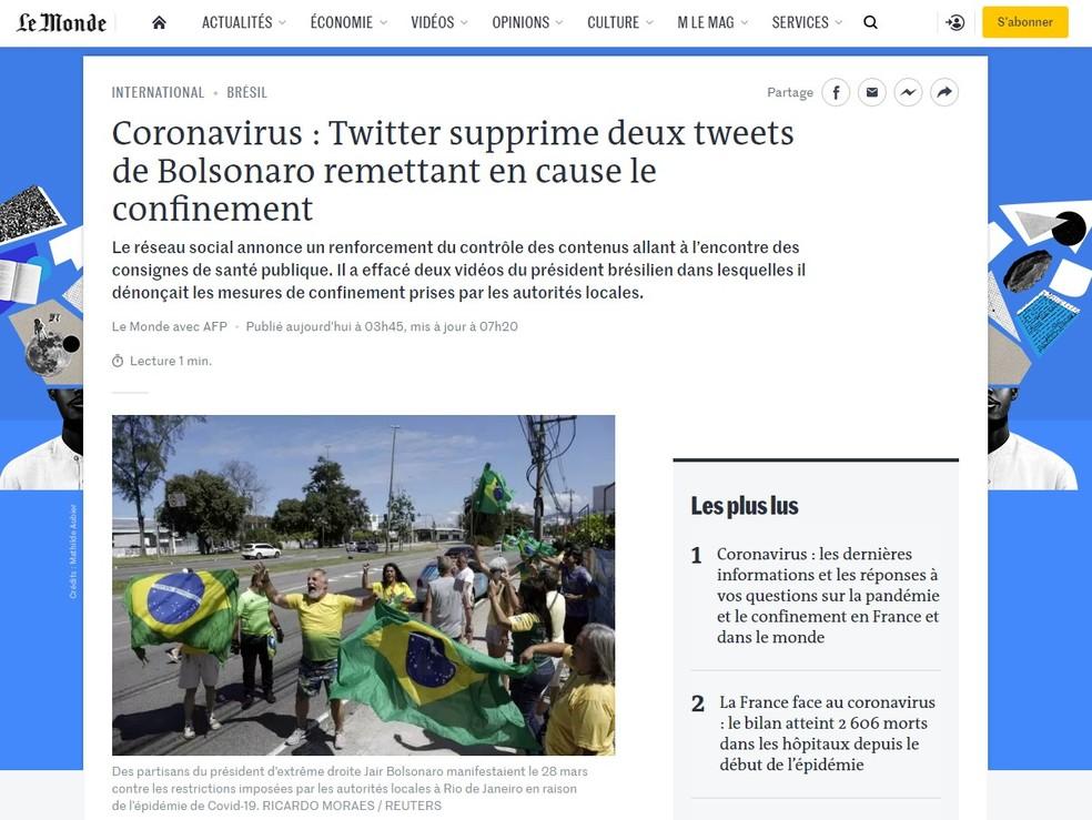 Jornal francês 'Le Monde' noticiou que Bolsonaro teve posts apagados do Twitter — Foto: Reprodução/Le Monde