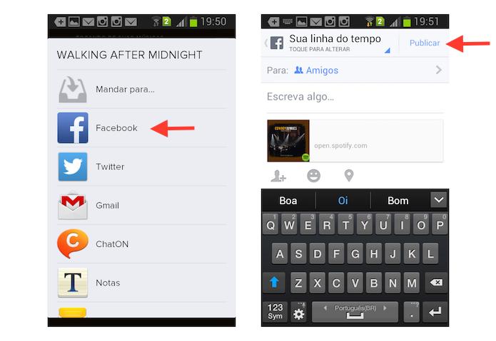 Compartilhando uma música do Spotify com o Facebook na versão para Android (Foto: Reprodução/Marvin Costa)