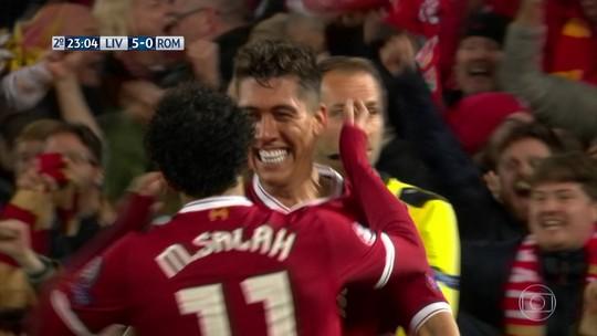 Assista aos sete gols da vitória do Liverpool sobre a Roma