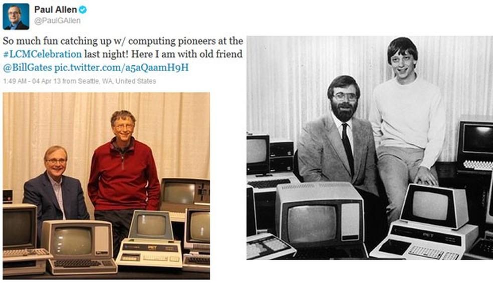 Paul Allen e Bill Gates, fundadores da Microsoft, recriaram clássica foto de 1981 em 2013 — Foto: Reprodução/Twitter