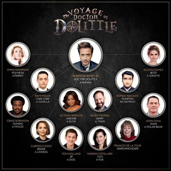 Arte apresenta o elenco estrelado de reboot de Doutor Dollitle (Foto: Reprodução/Instagram)