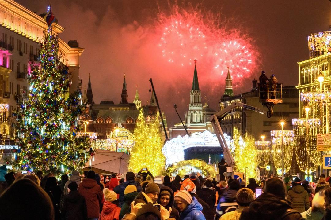 Celebração de ano novo em Moscou, na Rússia