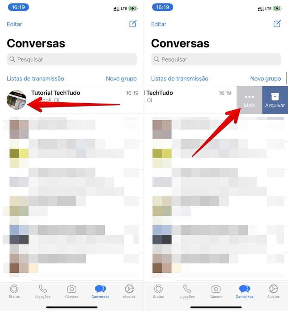 """Como ocultar grupo no WhatsApp? Acesse a aba """"Mais"""" para ver opções — Foto: Reprodução/Helito Beggiora"""