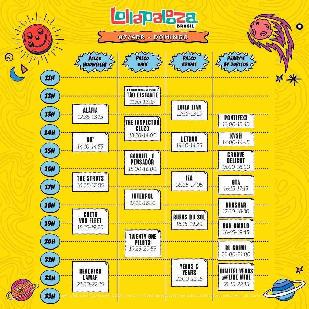Programação musical do terceiro dia de Lollapalooza 2019 — Foto: Divulgação