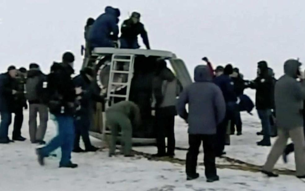 Nava Soyuz pousa no Cazaquistão (Foto: Reprodução / Nasa)