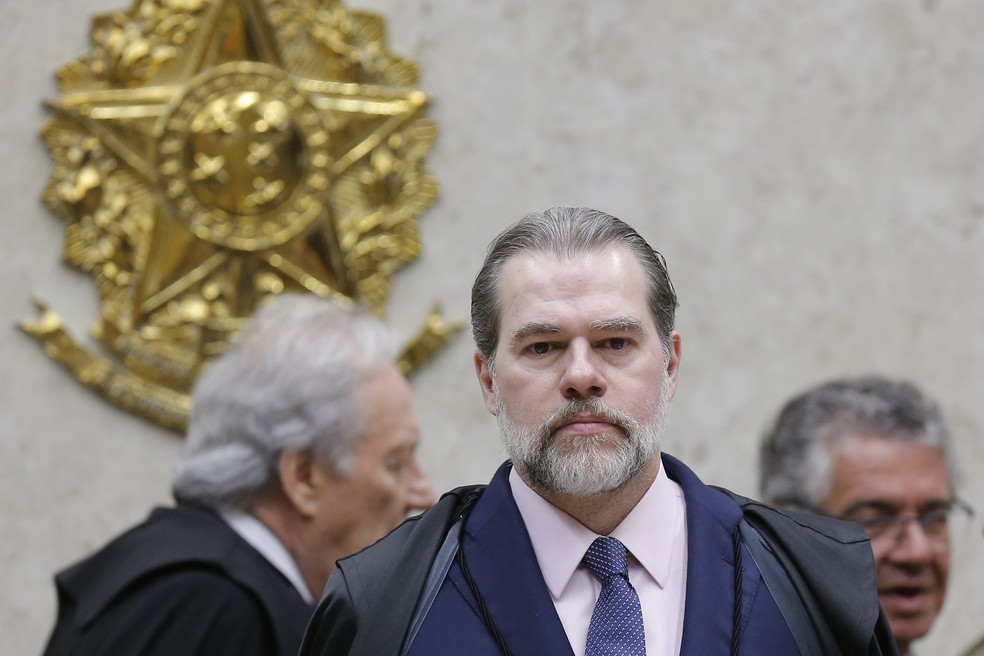 ministro Dias Toffoli, presidente do Supremo Tribunal Federal (STF), comanda sessão no plenário da Corte, em Brasília, nesta quarta-feira (2). — Foto: DIDA SAMPAIO/ESTADÃO CONTEÚDO